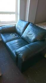 Faux leather two seat settee