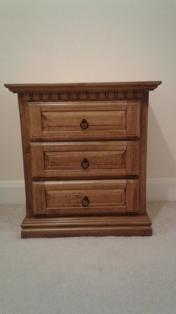 Dark Solid Wood 3 Drawer Sideboard Cabinet