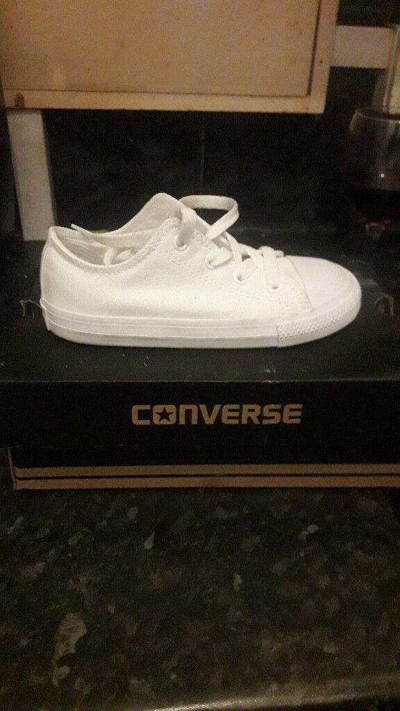 bcf28c7e0673 Kids white converse trainers