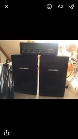 Carlsbro 800w speakers 1100w amp and tripods and wires