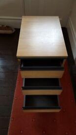 3 Drawer mobile pedestal unit for sale