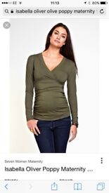 Isabella Oliver Khaki Maternity stretch top