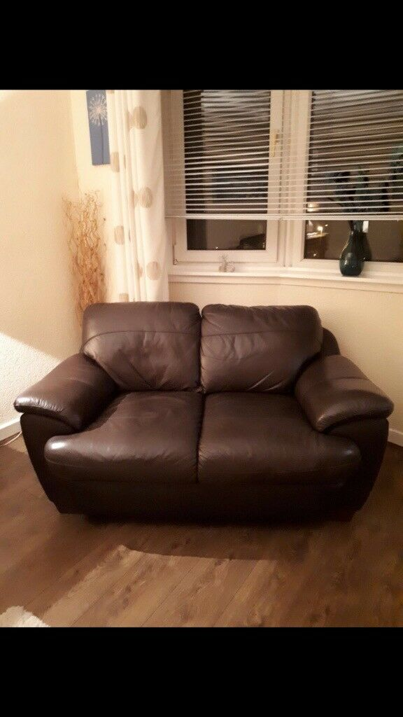 2 x Brown leather sofas