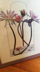 Lovely floral Picture in lilac wood frame with glass front