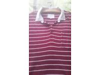 River Island Men's XL Red with White Horizontal Stripes Polo Shirt with White Collar