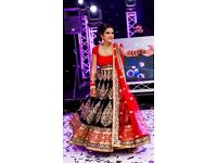 Stunning Designer Royal Blue, Red and Gold Bridal Lengha, Size 8/10, worn once only