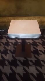 5 x cafe tables, rectangular, unpainted tops with silver, removable covers