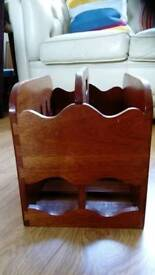 Magazine rack or holder, pretty, dark wood, solid item