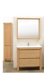 Bathroom vanity sink, cupboard and mirror