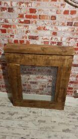 Handmade radiator cover rustic chunky wood - 72.5cm W x 89cm H x 17cm D