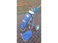 Mens' Golf trolley, few clubs & bag