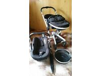 Silver Cross Surf Travel System. Pram and Car Seat/Stroller