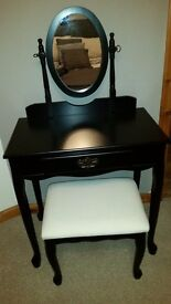 Black dressing table and stool. Immaculate condition .like new.