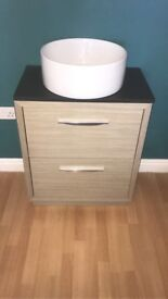 Vanity unit an sink new round sink light oak inbox for sizes £160 no tap cost £645