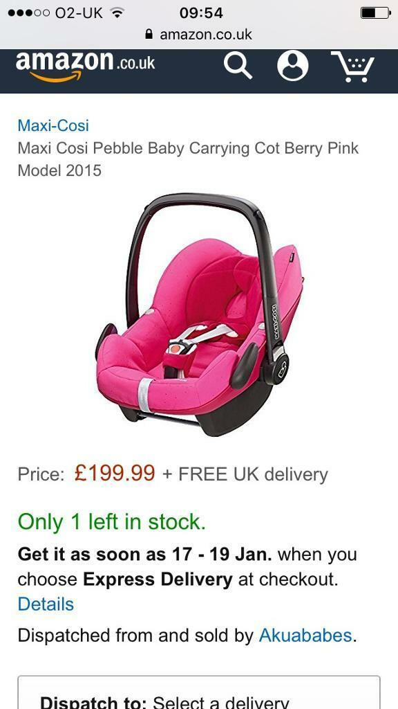 Maxi Cosi Berry Pink Pebble Car Seat Exc Con 40