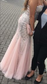 Sequined and Patterned Pink Prom dress