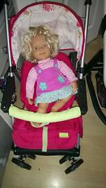 Doll & pushchair & clothes
