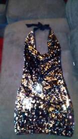 ⭐SOLD⭐Silver Sequin Body Con Scoop neckline, Size 8-10