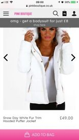 Woman's New White Hooded Jacket