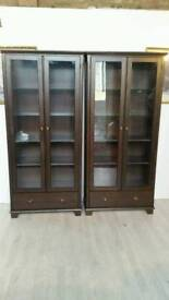 Ikea Solid Pine Stained in Brown Display Cabinet