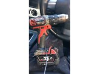 18 v Milwaukee drill with 4 amp battery