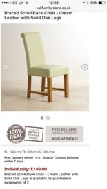 8 solid oak and cream leather chairs, as new