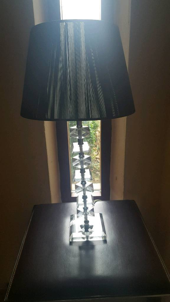 Pair of Crystal lamp bases and black weaved shades