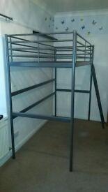 IKEA SVARTA single loft bed frame silver £30