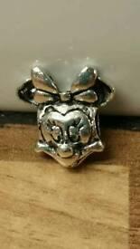 silver S925 Minnie Mouse Charm suits Pandora