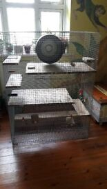 Large 3 floor degu cage with metal exercise wheel and accessories