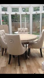 Button back dining table and 4 chairs