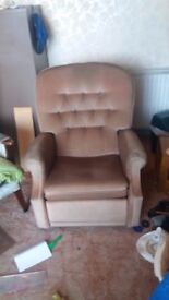 Grandads Recliner armchair very comfy, easy to drop off in! brown