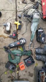 Various chargers and batterys for sale and two grinders