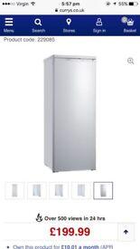 240 litre capacity tall white fridge.