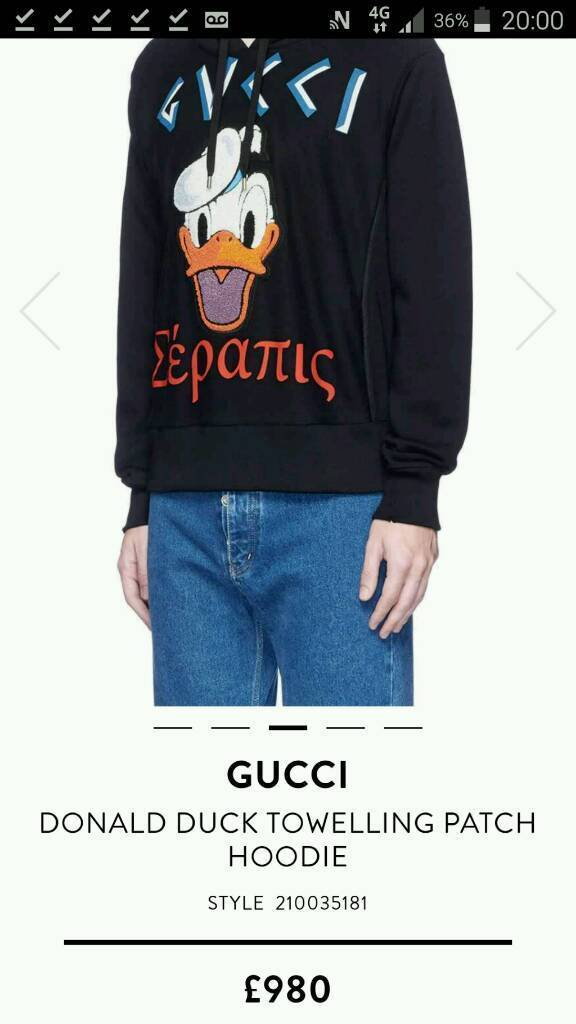 18c7f24c9d6 GUCCI DONALD DUCK HOODY NEW