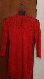 Red lace dress size 10
