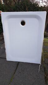90 x 120cm white metal shower tray