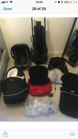 3D pram, with carrycot, car seat, base, car seat isofix base all hardly used!!