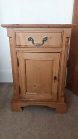 Bedside Solid wooden cabinet with draw and locking door includes selve perfect condition