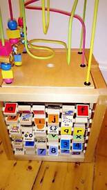 Solid wood baby/toddler activity cube 26.5cm square