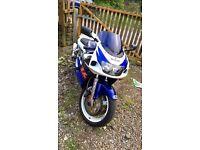 Suzuki GSXR 600 Sport bike blue and white