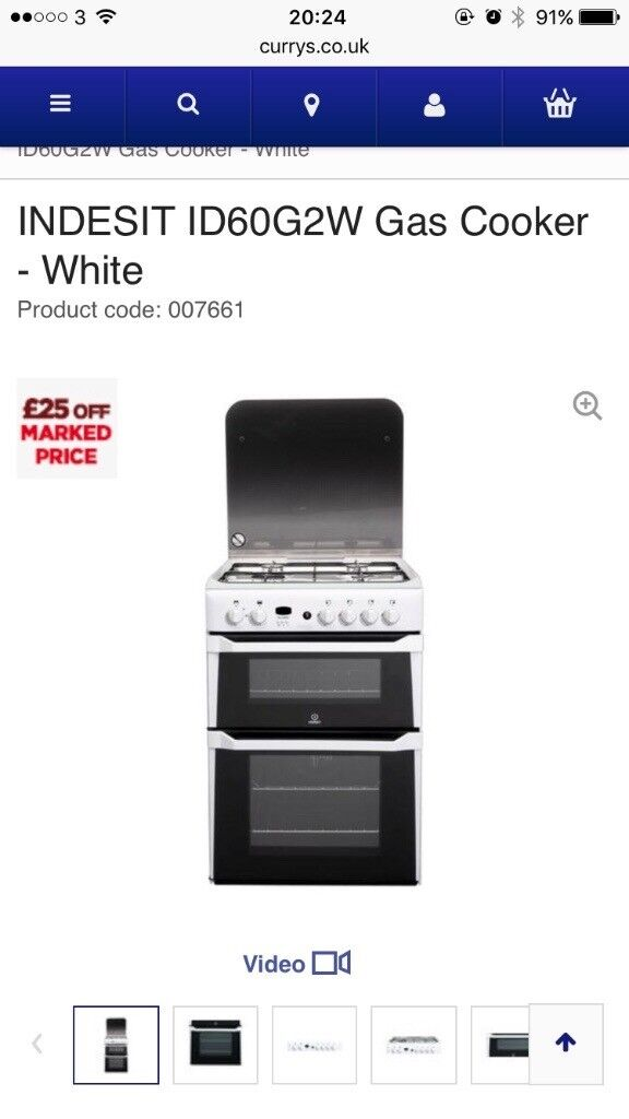 Indesit ID60G2W Double Oven Cooker White