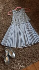 Pale blue party dress and shoes