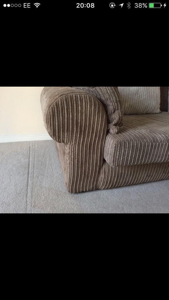 4 seater sofa jumbo cord and footstool