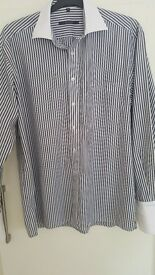mens shirt, Eterna execllent, white collar and culf,black stripe design.size 16/41