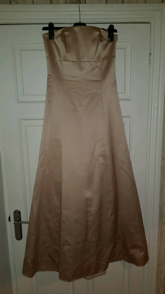 Champagne satin prom dress size 8