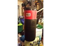 Lonsdale heavy bag, ceiling hooks, gloves, mits and pads