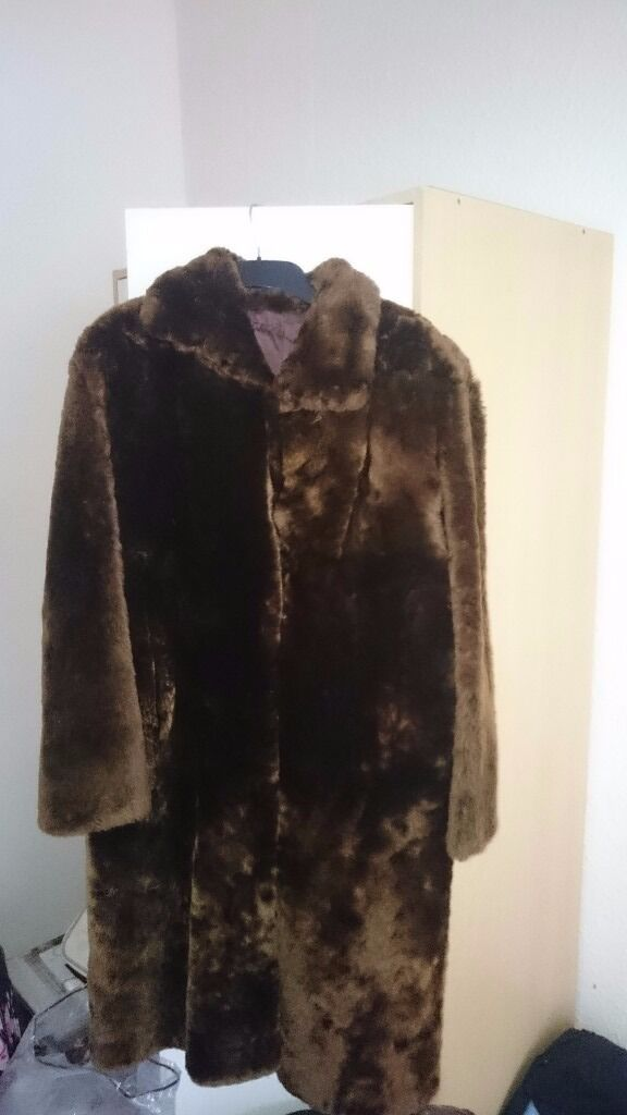 Fur Coat Brown Size 12/14