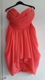 Coral Chiffon Strapless Dress