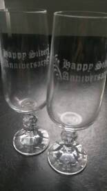 24% lead crystal Wedding Anniversary Champagne Flutes